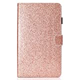 HereMore Coque Samsung Galaxy Tab A6 7.0 SM-T280/T285, Etui Portefeuille Bling Strass Case Housse de Protection avec Porte Stylet et Porte Carte pour Samsung Galaxy Tab A Tablette Tactile 7', Or Rose
