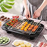 AZOD Smokeless Indoor/Outdoor Electric Grill Portable Tabletop Grill Kitchen BBQ Grills Adjustable Temperature Control,Removable Water Filled Drip Tray,2000W,Black