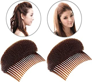2PCS Brown Puffy Ponytail Insert Hair Combs Bump It Up Volume Inserts Hair Bun Updo Maker Do Beehive Hair Styler Shaper Volume Hair Base Insert Pad Bouffant Padding Hair Beauty Tool for Women