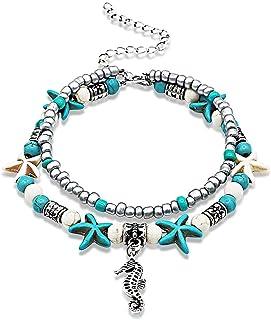 LucBuy Boho Tobilleras, Azul Estrella de Mar Tortuga de múltiples Capas del Encanto de los Granos Playa Hecha a Mano Tobil...