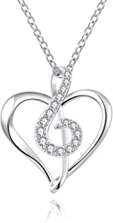 ACJNA 925 Sterling Silver Musical Note Cubic Zirconia Pendant Necklace Musician Jewelry