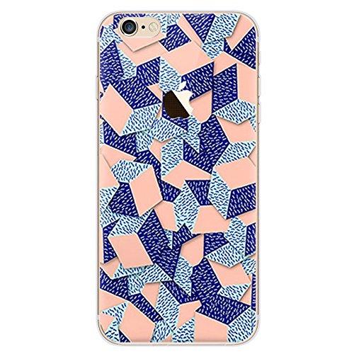BubbleGum® beschermhoes voor iPhone Urban Pixels serie zacht TPU gel beschermhoes, telefoonhoes in artistieke stijl iPhone 7 PLUS 3: Peach/Blue Cubes