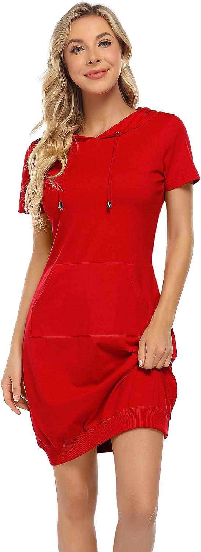 MISSKY Women's Pullover Hoodie Kangaroo Pocket Sweatshirt Casual Hooded Dress