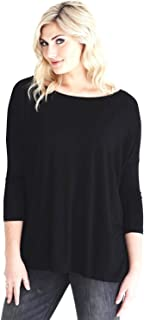 Jack David Women's Famous 3/4 Sleeve Top Casual Oversized Soft Loose Fit Drop of Shoulder Boat Neck