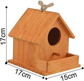 MOAAA Bird House Wood Bird House Nest Parrot Breeding Decorative Cages Hamster Nest Home Cute Pet Accessories Wood Parrot Bird Cages