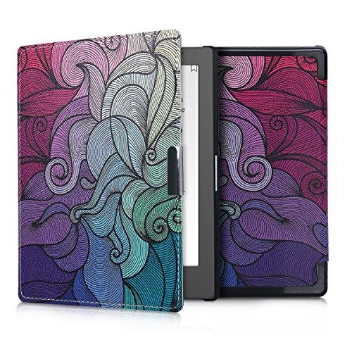 kwmobile Custodia compatibile con Kobo Aura Edition 1 - Cover in simil pelle magnetica Flip Case per eReader fucsia/blu/verde