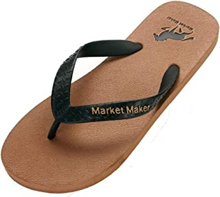 Men's Summer Flip Flops, Casual Breathable Sandals Comfortable Non-Slip Slippers Toe Post Thongs Beach Shoes for Apartments, Hotels, Houses,Travel,Brown,42