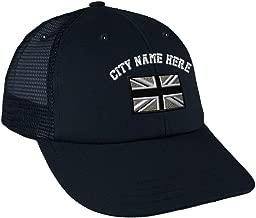Custom Snapback Baseball Cap British Flag Black White Embroidery City Cotton