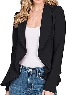 CLOVERY Women's Long Sleeve Cardigan Lightweight Open Front Office Blazer with Plus Size