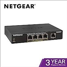 NETGEAR 5-Port Gigabit Ethernet Unmanaged PoE Network Switch (GS305P) - with 4 x PoE @ 55W, Desktop, Sturdy Metal Fanless Housing