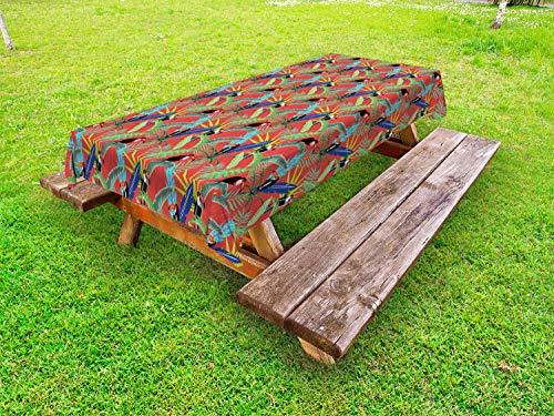ABAKUHAUS Tukan Outdoor-Tischdecke, Tropische Vögel Regenwald, dekorative waschbare Picknick-Tischdecke, 145 x 265 cm, Dark Salmon Multicolor