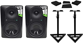 (2) Mackie MR624 6.5 65w Powered Studio Monitor Speakers+Stands+Isolation Pads