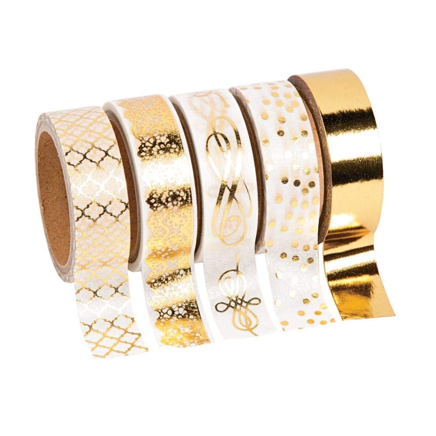 Gold Foil Print Washi Tape (5 rolls/unit) Each roll includes 16 ft. of tape. Paper. (1 Unit)