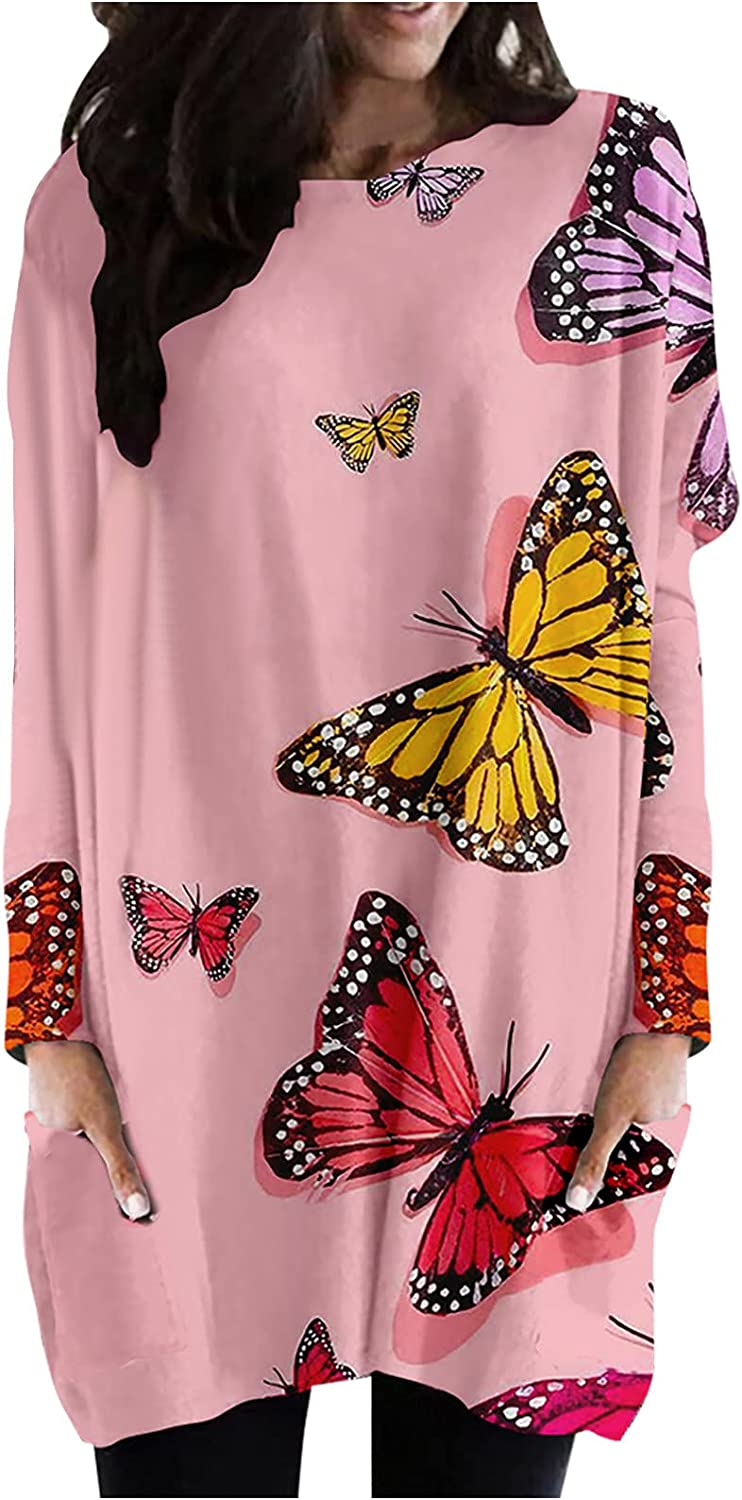 Womens Round Long Sleeve Shirts Butterfly Printed Graphics Tees Fashion Plus Size Casual Blouse