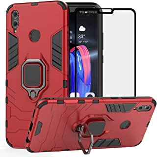BestAlice for Huawei Honor 8X case, Hybrid Heavy Duty Protection Shockproof Defender Kickstand Armor Case Cover Tempered Glass Screen Protector,Red