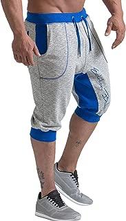HAODIAN Men's 3/4 Jogger Capri Pants Workout Training Shorts with Pocket Drawstring