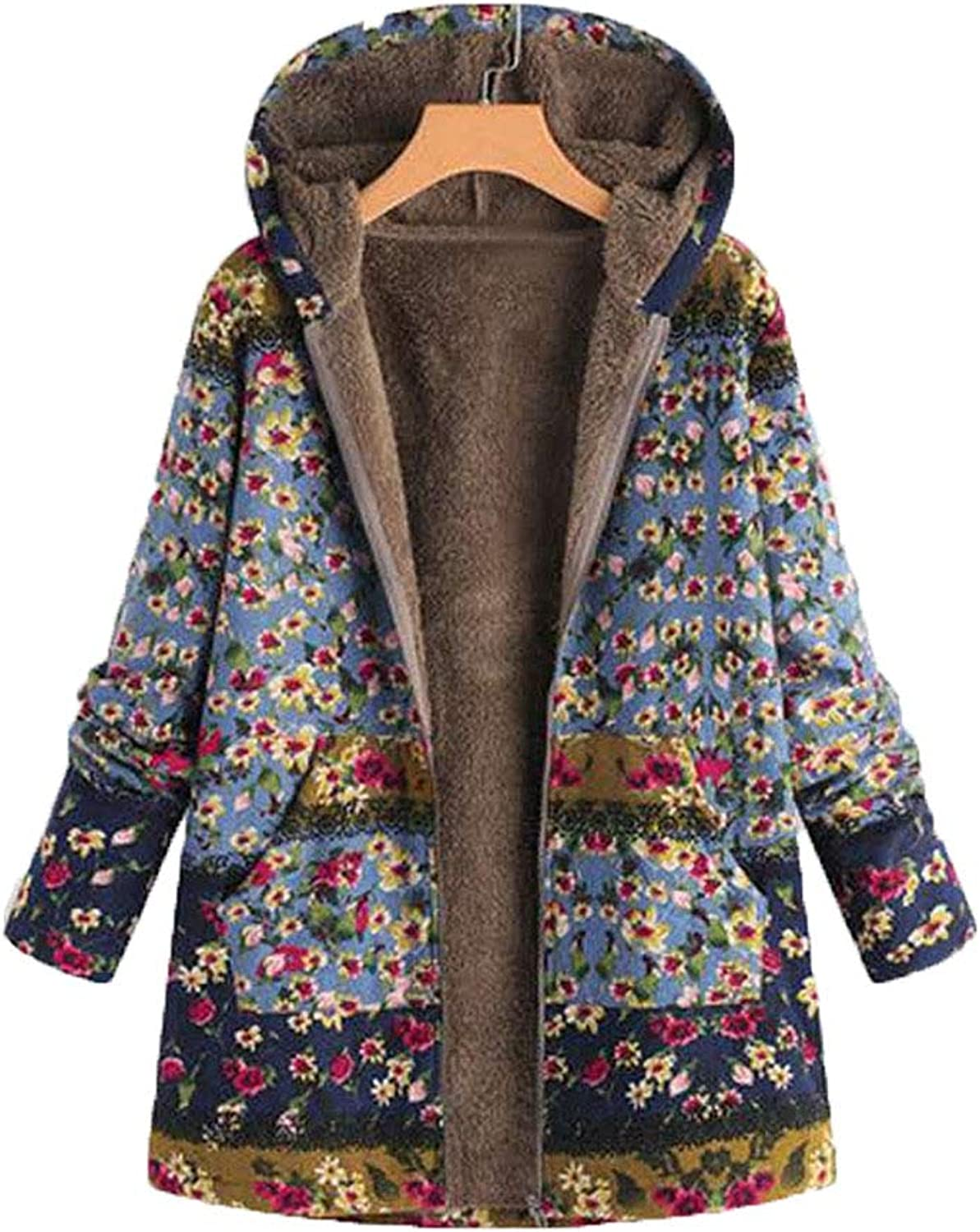 Women Lady Retro Printed Hooded Warm Jacket with Zipper for Female Long Sleeve Casual Dresses Style Outwear,bluee,XXXL
