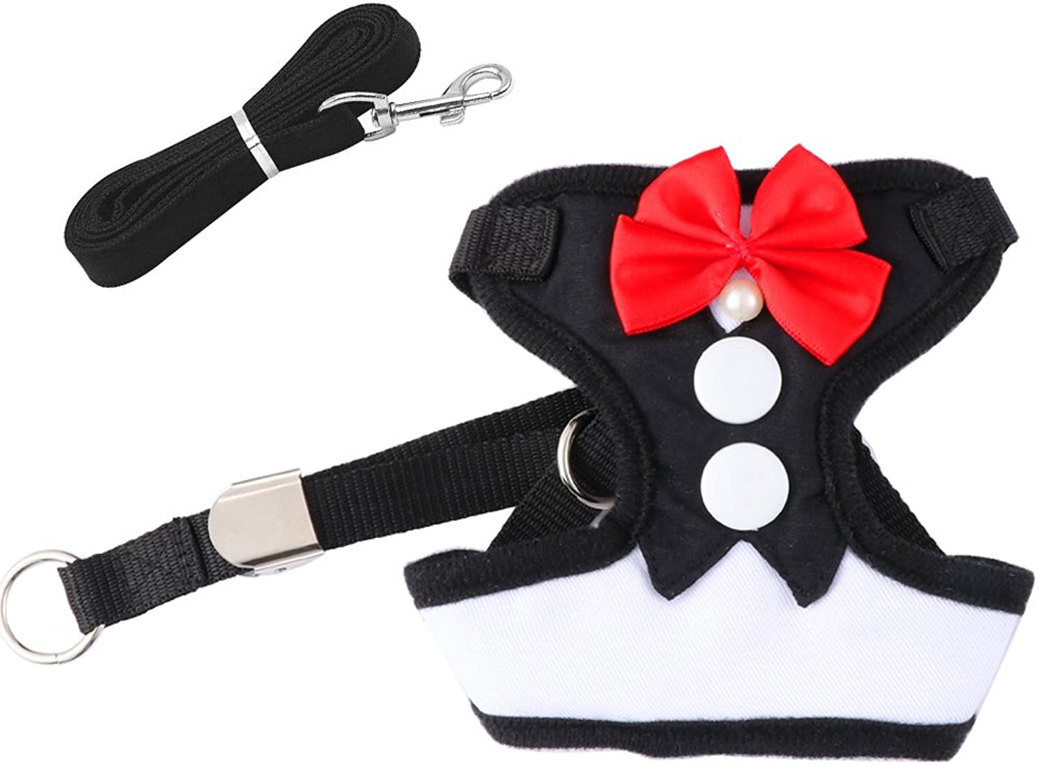 Ohkuu Dog Vest Harness,Breathable Mesh Bowtie Gentleman Dog Harness Adjustable Soft Pet Chest Vest with Handle for Puppy,Cat (M)