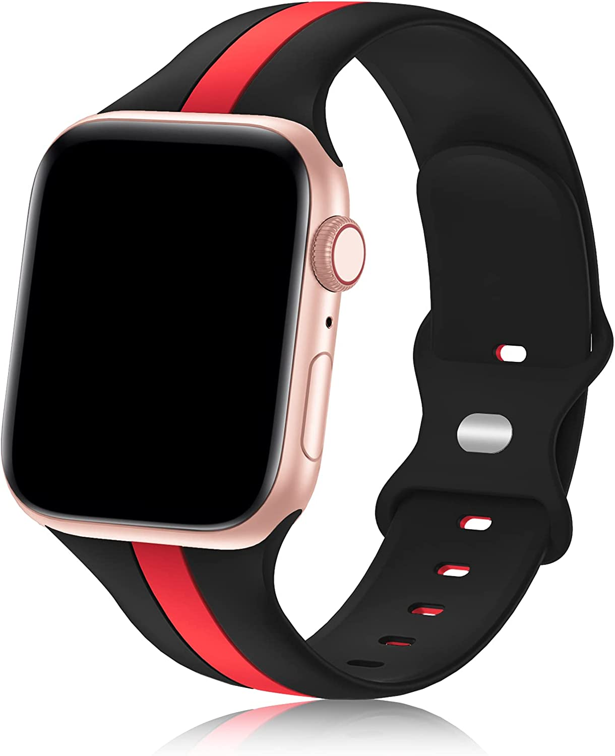 Designer Sport Band Compatible with Apple Watch iWatch Bands 38mm 40mm 41mm 42mm 44mm 45mm Men Women, Soft Silicone Strap Wristbands for Apple Watch Series7/6/5/4/3/2/1/SE
