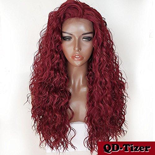 Qd-tizer Long lâche Cheveux bouclés synthétique Lace Front Perruques Couleur bordeaux Vin Rouge résistant à la chaleur bouclés Perruques pour Mode Femme 61 cm
