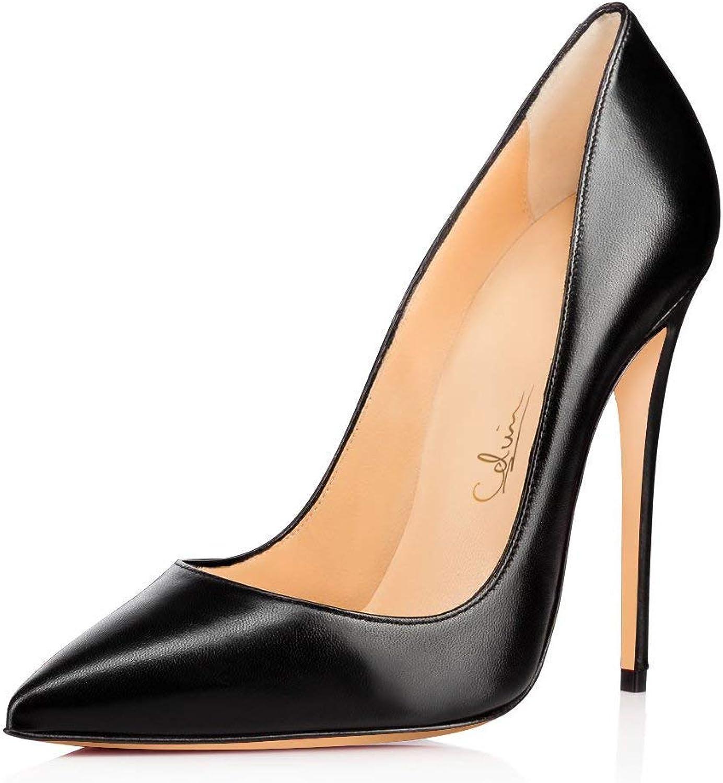 UMEXI Kvinnor med spetsiga tåklackar Stiletto Slip on on on Heel Patent läder Dress skor  100% prisgaranti