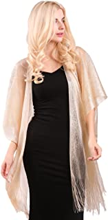Womens Glitter Open Front Cardigans Sheer Metallic Long Kimono with Tassel