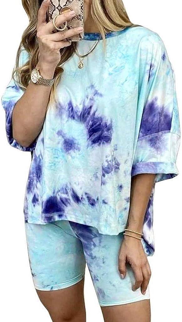 Hessimy Tie Dye Pajamas for Women,Womens Short Sleeve Sof 2 Piece Lounge Short Pajamas Set Nightwear Sleepwear Loungewear