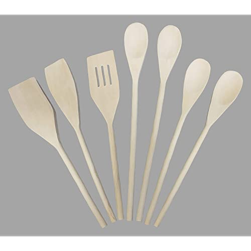 Mountain Woods 7 Piece Organic Wood Utensil Set, Spatula and Spoons | Eco-friendly Safe Kitchen Cooking Tools