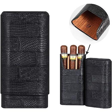 Amazon Com Galiner Cigar Case Genuine Leathecedar Wood Lined Cigar Holder 60 Gauge Cigar Portable Travel Box 3 Cigars Mini Humidor Black Home Kitchen