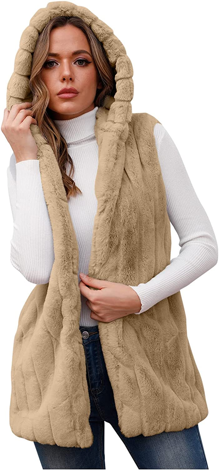 womens sweaters Womens Max 40% OFF shopping Faux-Fur' Short Wa Sleeveless Vest Hooded