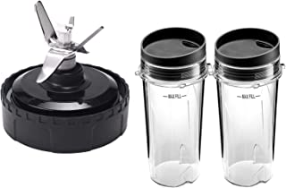 Replacement Parts for Nutri Ninja, Blender Blade Assembly and 2 Pack Single Serve 16-Ounce Cup Set for BL770 BL780 BL660 Professional Blender