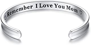Chalier Remember I Love You Mom Engraved Cuff Bangle Bracelets Gift for Mother's Day