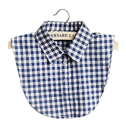 Vococal Frauen Damen Casual Plaid Gefälschte Kragen DIY Bluse Kleidung gefälschte Kragen Blau
