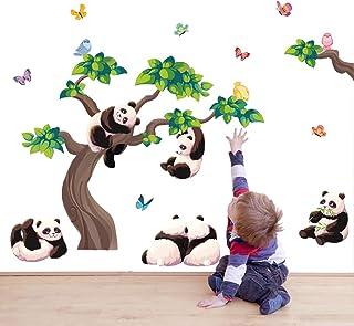 decalmile Pegatinas de Pared Panda Rama Vinilos Decorativos Adhesivos Pared Animales Mariposas Habitación Infantiles Niños Bebés Guardería