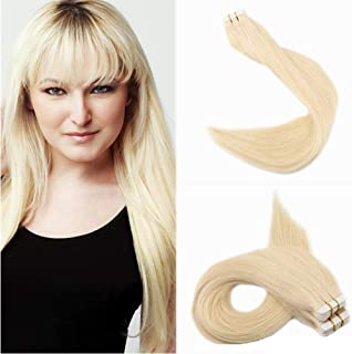 Lacerhair 16 inch Seamless Remy Tape in Human Hair Extensions Balayage Natural PU Skin Weft 100% Real Virgin Human Hair Color #613 Bleach Blonde Double Side 50g 20pcs/set