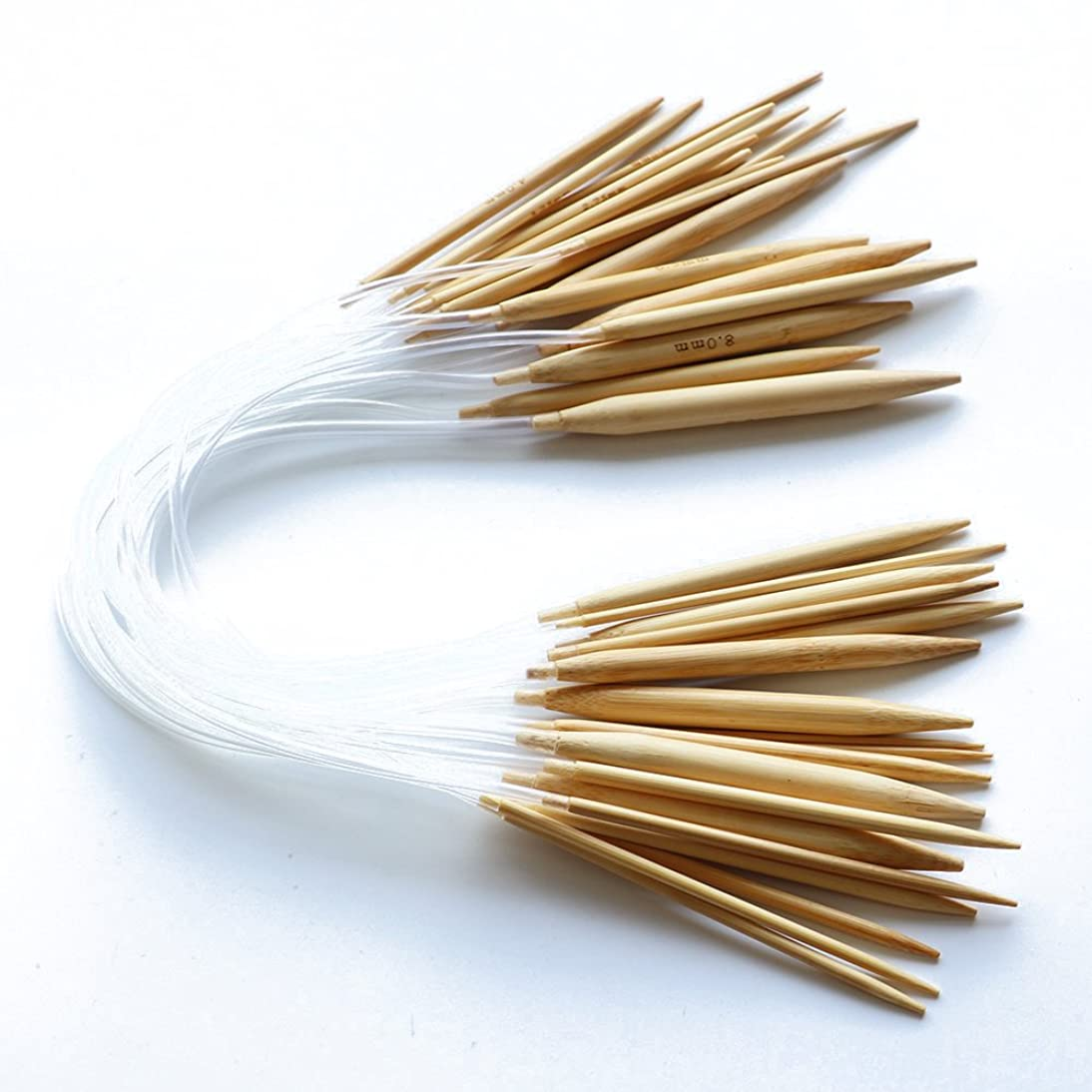 LGEGE Bamboo Circular Knitting Needles Smoothe Ends with Clear Plastic Tube Crafts Yarn Sets Needles Kit