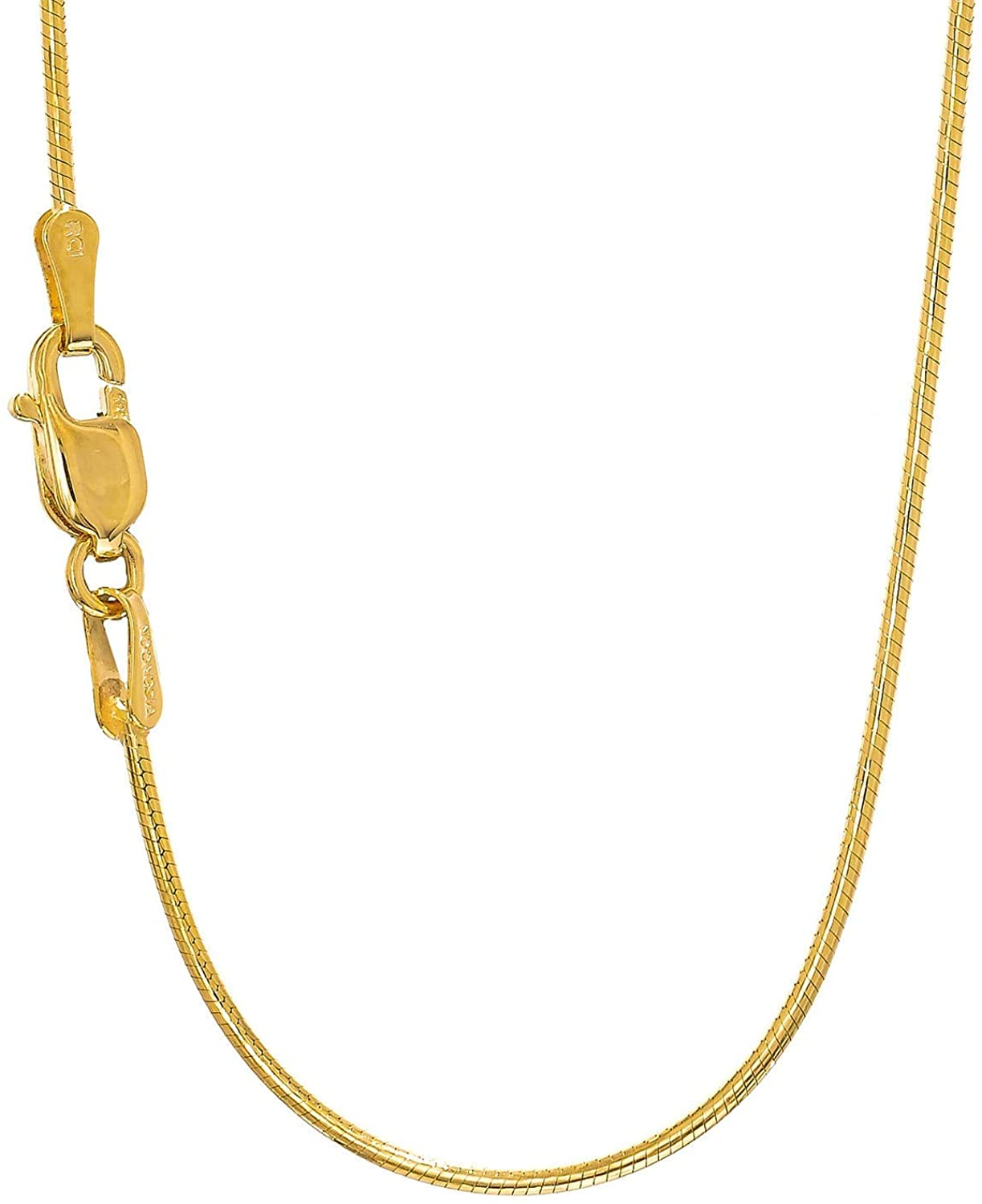 JewelStop 14k Solid Gold Yellow Or White 0.9 mm Round Snake Chain Necklace 16
