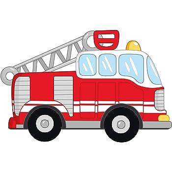Wandtattoo Feuerwehr Auto in rot Wandsticker Kinderzimmer