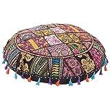 NAND Nandini - Taburete redondo de algodón hecho a mano, estilo bohemio, bordado a mano, diseño étnico, cojín redondo y funda de cojín para asientos, puf otomano (55,88 cm de diámetro)