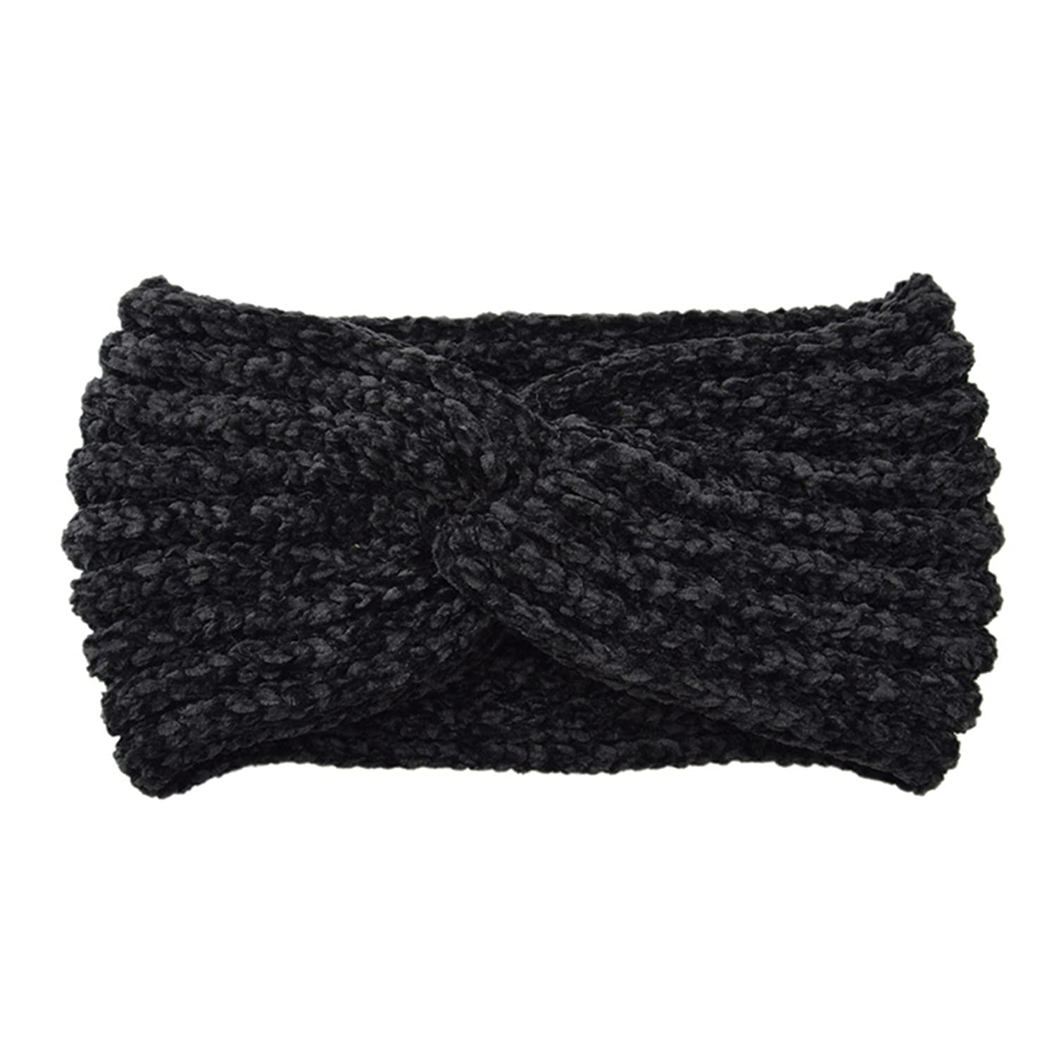 NEW Women Handmade Woven Headband Cross Knotted Knitted Corduroy Warm Ear Warmer Stretch Head Bands Simple Hair Accessories Black