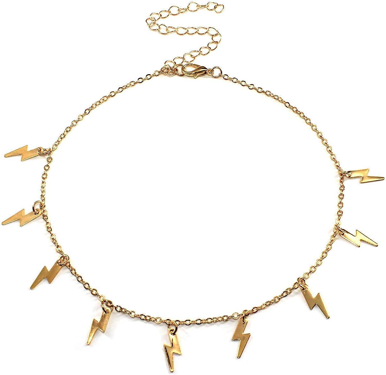 Women Girls Lightning Wholesale Quantity limited Bolt Choker Necklace Chain S Short Jewelry