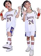DDOYY Basketbalshirt Kobe Bryant # 24 Lakers Korte mouw Basketbalset, Kinderbasketbal Kleding Pak Outdoor Training Fitness...