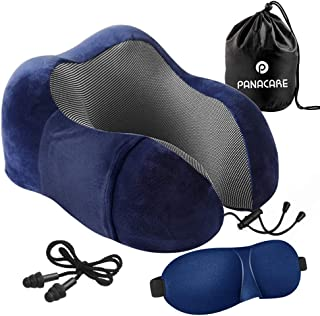 Travel Pillow, PANACARE Neck Pillow with Ergonomic Memory Foam, Soft Breathable Pillowcase for Removable Washable, Standard Travel Kit with Eye Mask, Earplugs, Great for Flight Travel Office, Blue