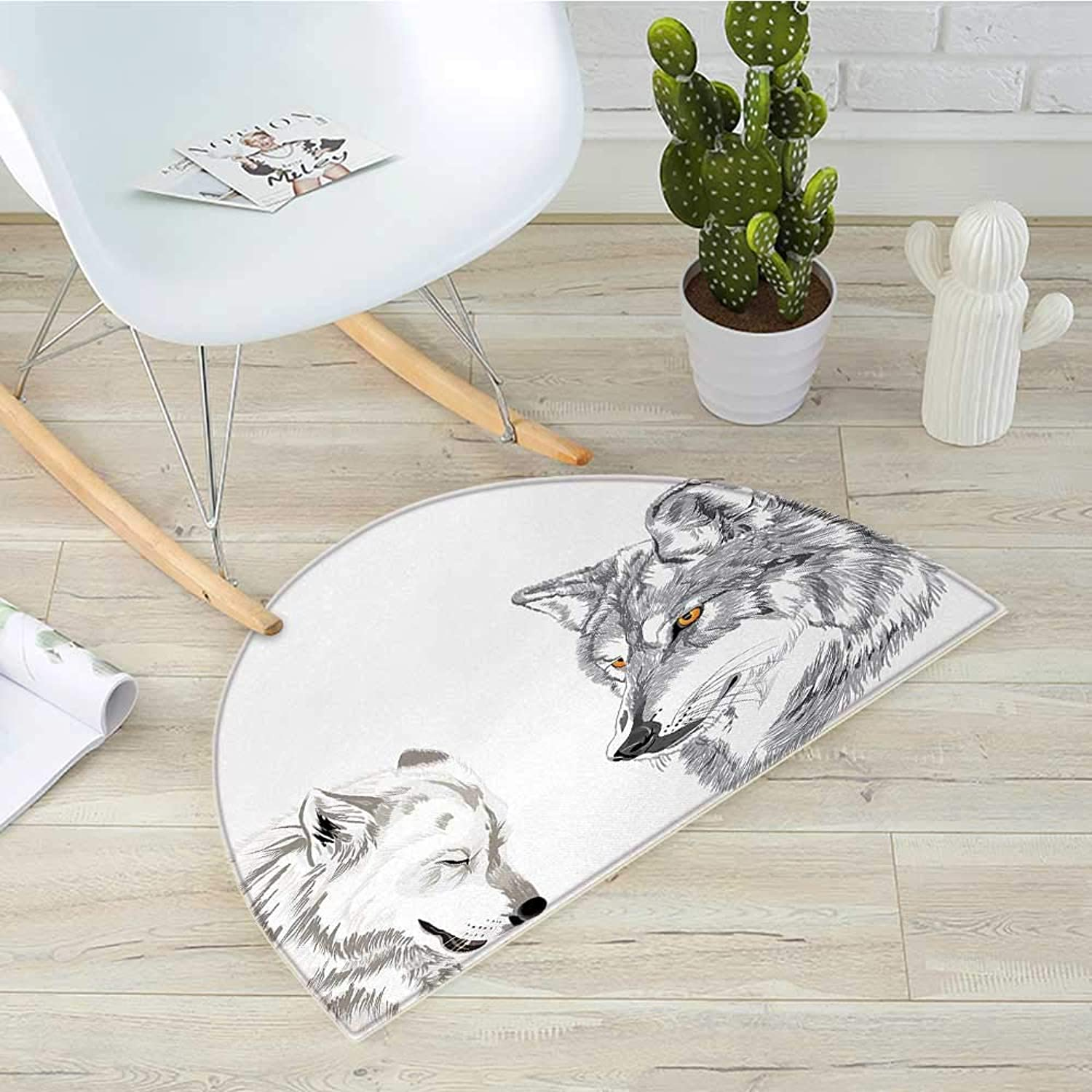 Sketchy Semicircular CushionTwo Wolf Portraits Sleeping Hunting Carnivore Animals Nature Wildlife Theme Entry Door Mat H 31.5  xD 47.2  Beige Grey orange