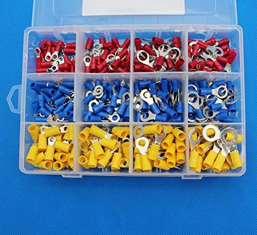 Raogoodcx 300 Stück isolierte Anschlussklemme Elektrische Draht Crimp-Steckverbinder Set, gelb, blau, rot