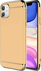 iPhone 11 Case,RORSOU 3 in 1 Ultra Thin and Slim Hard Case Coated Non Slip Matte Surface with Electroplate Frame for Apple iPhone 11 (6.1