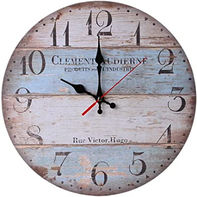 Nazaka | Wall Clock | 1 Piece Vintage Large Wooden Wall Clock Creative European Modern Quartz