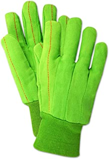 Magid Safety MultiMaster 796KWNL Gloves | 18 oz. 100% Cotton Double-Layered Palm Canvas Gloves with a Comfort Liner for Added Insulation  - Bright Green, XL (12 Pairs)