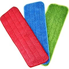 3 Pieces microfiber mop heads: come with 3 different colors, includes red, blue and green; The red and blue mop heads are made from coral fleece, the green one is made from electrostatic cloth Mop pads size: the microfiber cleaning mop pads size is 1...