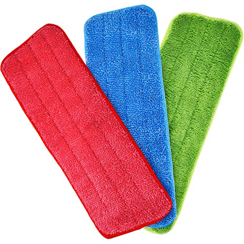 Shappy 3 Pieces Mop Microfiber Cleaning Pads Replacement Heads for Spray Mops and Reveal Mops Washable 16.5 x 5.5 Inch